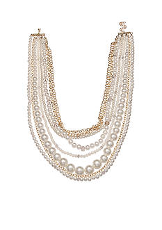Jules B Gold-Tone Multi Strand Pearl and Chain Necklace