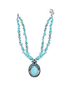 Jules B Silver-Tone Code Blue Turquoise Pendant Necklace