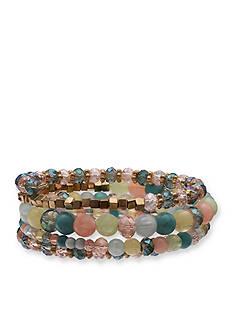 Jules B Gold-Tone Powder Room Pastel Bead Coil Bracelet