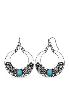Jules B Silver-Tone Code Blue Turquoise Gypsy Drop Earrings