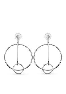 Jules B Silver-Tone Going In Circles Ring Bar Drop Earrings