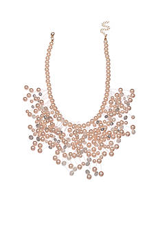 Jules B Gold-Tone Bubble Bath Pink Pearls Statement Necklace