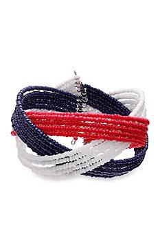 Jules B Silver-Tone Fireworks Braided Cuff Bracelet