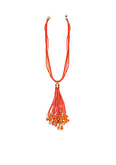 Jules B Gold-Tone Long Orange Tassel Pendant Necklace