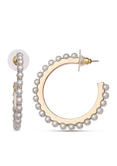 Jules B Gold-Tone Sunday In The South Pearl C-Hoop Earrings