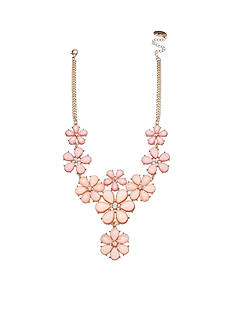 Jules B Gold-Tone Powder Room Pink Floral Statement Necklace
