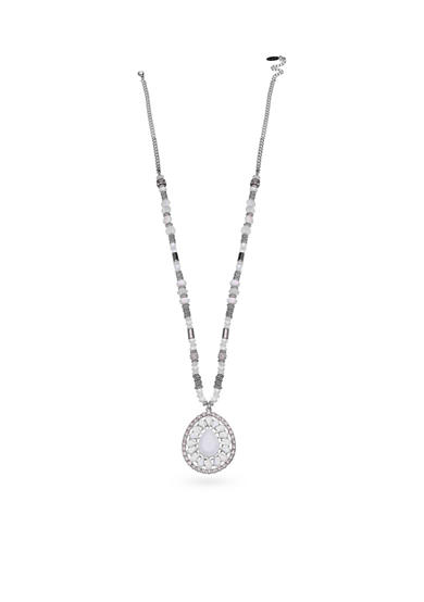 Jules B Silver-Tone Snow White Long Pendant Necklace