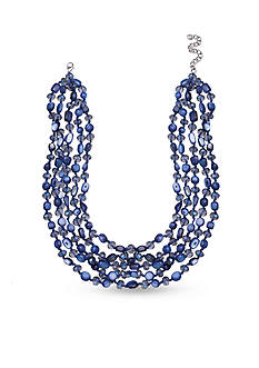 Jules B Silver-Tone Blue Shells Multi-Strand Necklace