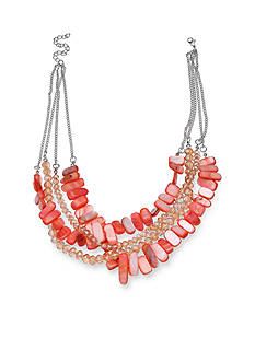 Jules B Flip Flops & Crop Tops Silver Tone Coral Shell Layered Necklace