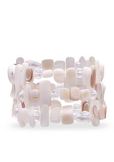 Jules B Flip Flops & Crop Tops White Shell Stretch Bracelets
