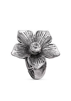 Jules B Silver-Tone Flower Crystal Stretch Ring