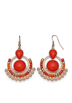Jules B Gold-Tone Orange Crush Seed Bead Chandelier Earrings