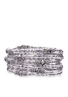 Jules B Silver-Tone Snow White Seed Bead Coil Bracelet