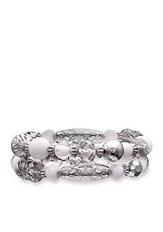 Jules B Silver-Tone Snow White Beaded Stretch Bracelet
