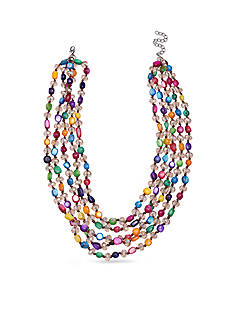 Jules B Silver-Tone Multi Colored Shells Multi-Strand Necklace