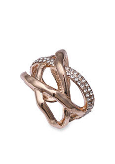 Jules B Rose Gold-Tone Double Crossover Crystal Ring - PATTERN with 129646