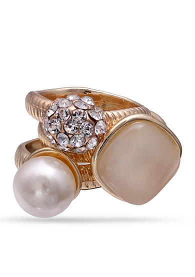 Jules B Gold-Tone Crystal Pearl Cateye Ring Set