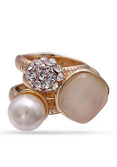Jules B Gold-Tone Crystal, Pearl, & Cateye Ring Set