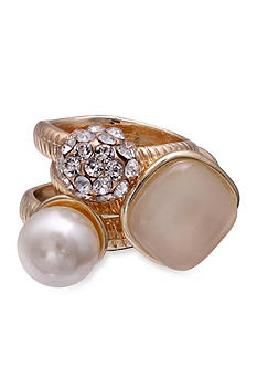 Jules B Gold-Tone Crystal, Pearl, & Cateye Ring Set - Pattern with 129652