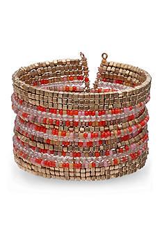 Jules B Gold-Tone Orange Crush Seed Bead Cuff Bracelet