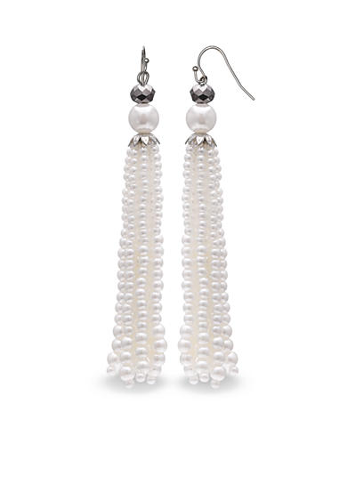 Jules B Silver-Tone Pearl Tassel Drop Earrings