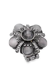 Jules B Silver-Tone Crystal Flower Cateye Stretch Ring