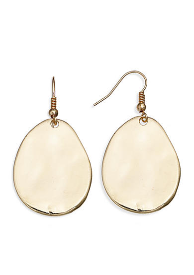 Jules B Gold-Tone Hammered Disc Drop Earrings