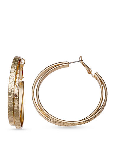Jules B Gold Tone Textured Double Hoop Earrings
