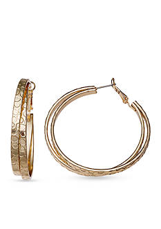 Jules B Gold Tone Textured Double Hoop Earrings