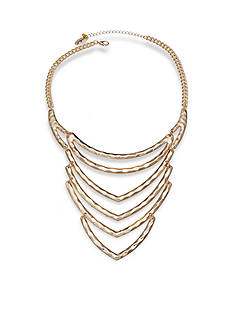 Jules B Gold-Tone Hammered Dramatic V Shape Statement Necklace