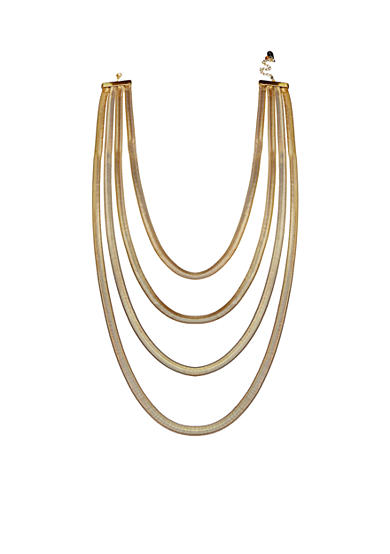 Jules B Gold Tone Snake Charmer Gold Long Layered Chain Necklace