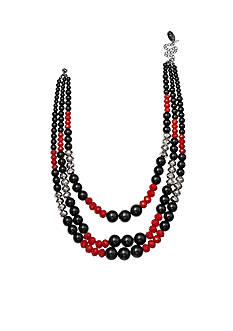 Jules B Silver-Tone Multi Strand Beaded Necklace