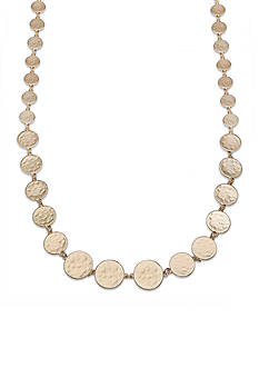 Jules B Gold-Tone Graduated Hammered Disc Long Necklace