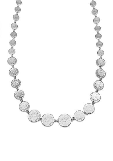 Jules B Silver-Tone Graduated Hammered Disc Long Necklace