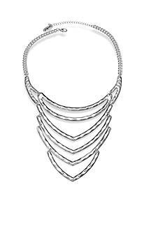Jules B Silver-Tone Hammered Statement Necklace