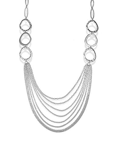 Jules B Silver-Tone Statement Multi-Strand Long Necklace
