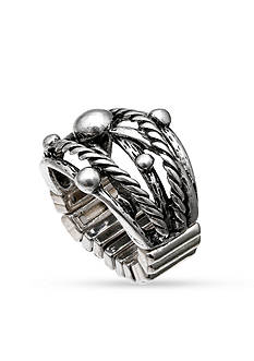 Jules B Silver-Tone Braided Accent Stretch Ring