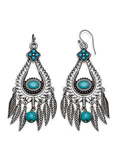 Jules B Silver-Tone Spirit Of The Southwest Turquoise Chandelier Drop Earrings