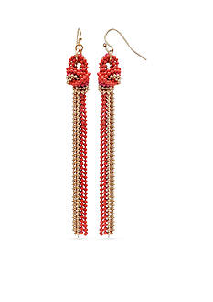 Jules B Gold-Tone Multi Chain Drop Tassel Earrings