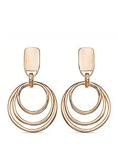 Jules B Gold-Tone No Place Like Chrome Triple Ring Drop Earrings