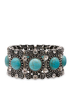 Jules B Silver-Tone Spirit Of The Southwest Turquoise Crystal Stretch Bracelet