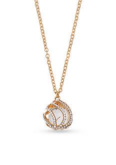 Jules B Gold-Tone 3D Crystal Teardrop Pendant Necklace