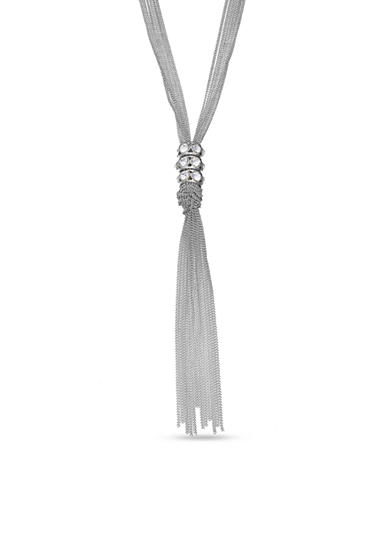 Jules B Silver-Tone Crystal Ring Tassel Pendant Necklace