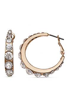 Jules B Hotline Bling Gold Crystal Hoop Earrings