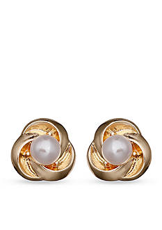 Jules B Gold-Tone Pearls Night Out Love Knot Pearl Button Earrings
