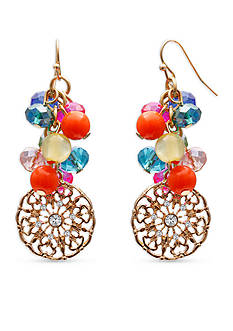 Jules B Gold-Tone Tropical Paradise Bead Drop Earrings