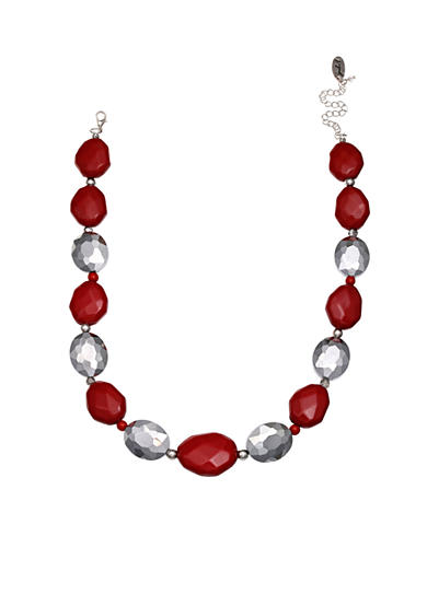 Jules B Silver-tone Little Red Wagon Chunky Bead Necklace