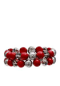 Jules B Silver-Tone Little Red Wagon 2-Piece Beaded Stretch Bracelet