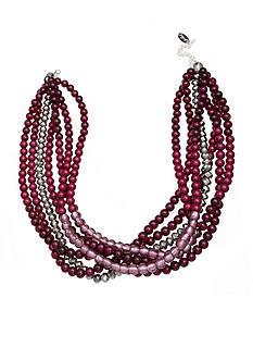 Jules B Silver-Tone Bauble Bazaar Purple Beaded Multi Strand Necklace