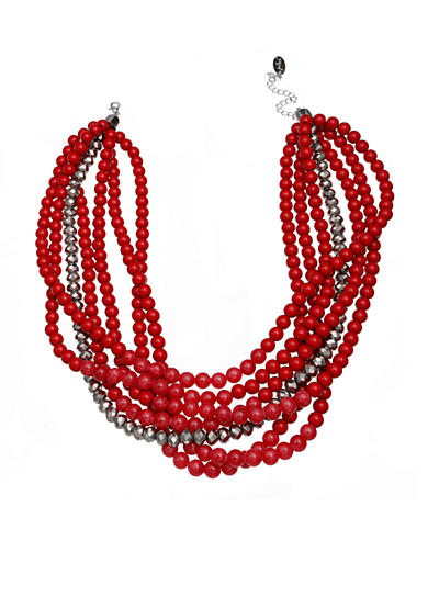 Jules B Silver-Tone Bauble Bazaar Red Multi-Strand Bead Necklace